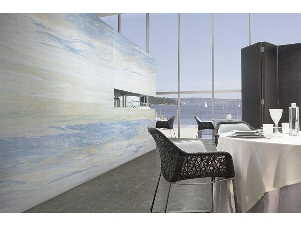 Lastre di gres porcellanato effetto marmo blu oceano gani tile